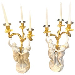 Pair of French Louis XVI Style Sevres Bisque Marked Figural Candelabra