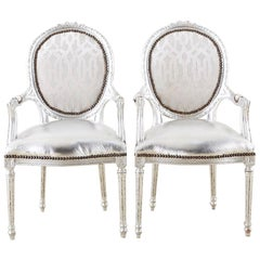 Pair of French Louis XVI Style Silver Leaf Metallic Armchairs