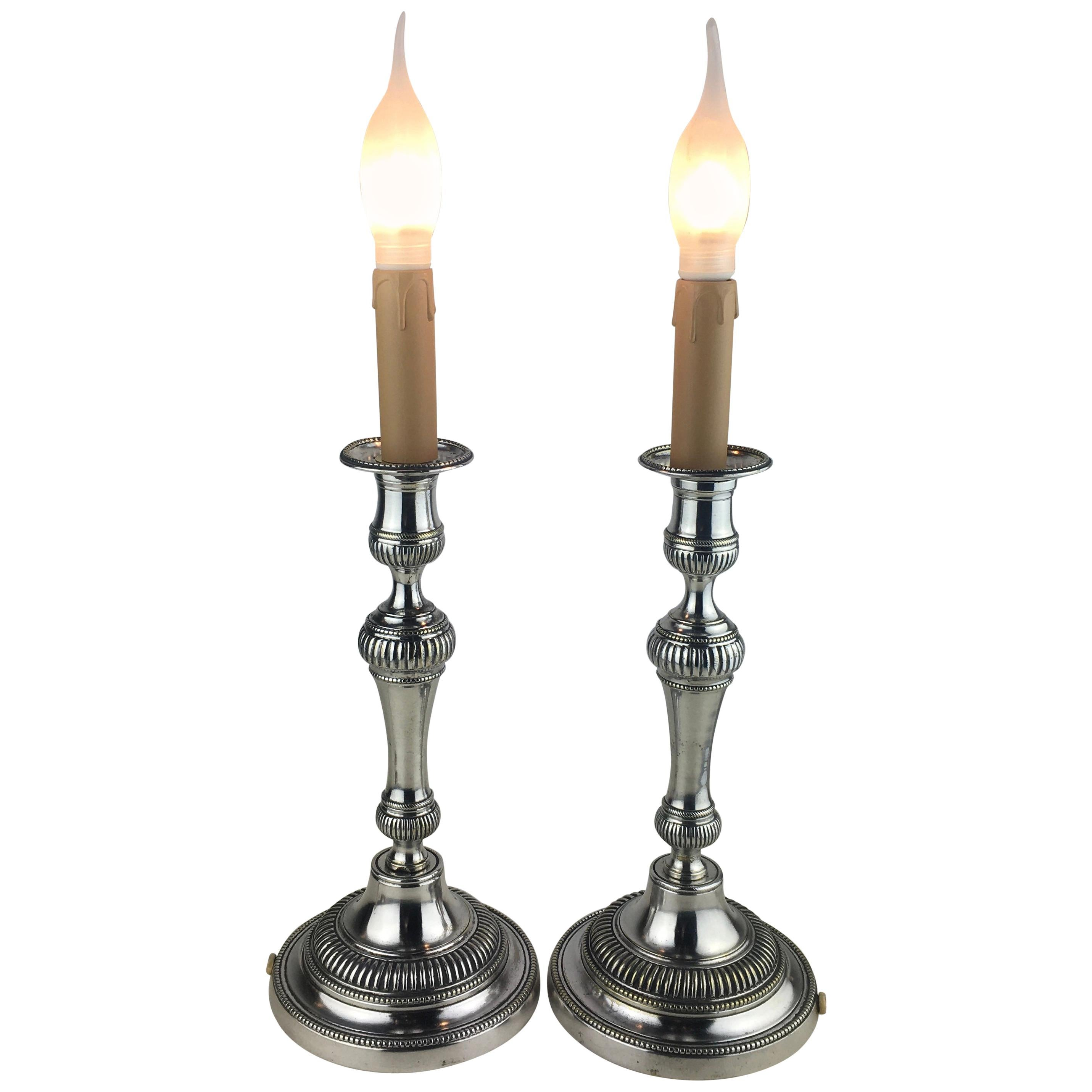Pair of French Louis XVI Style Silver Plated Electrified Candlestick Table Lamps