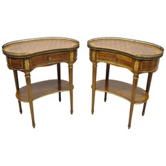 Pair of French Louis XVI Style Simon Loscertales Bona Kidney Shaped Nightstands