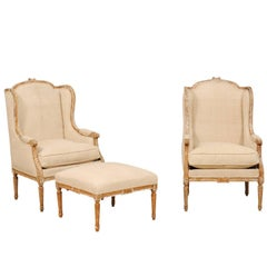 Pair of French Louis XVI Style Wood Wing-Back Bergère or Armchairs with Ottoman