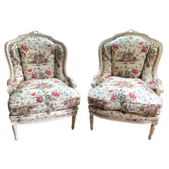 Pair of French Louis XVI Upholstered Bergère
