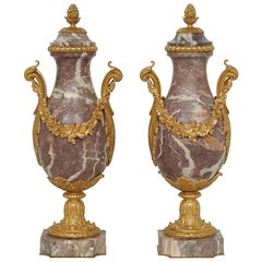 Pair of French Louisxv Style Mid-19th Century Ormolu and Marble Cassolettes