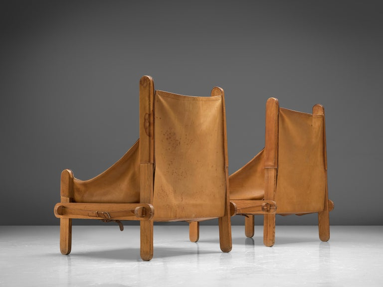 Wood Pair of French Lounge Chairs in Cognac Leather For Sale