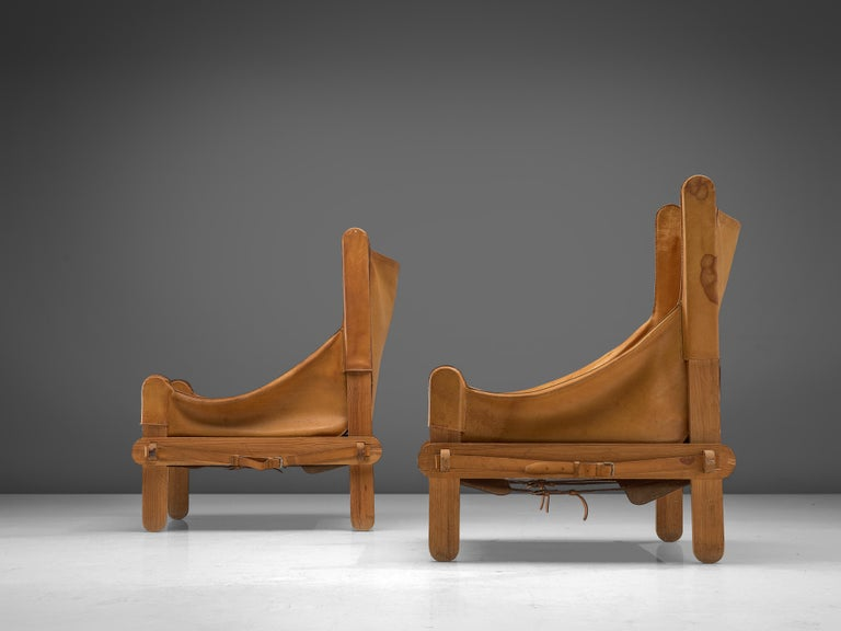 Pair of French Lounge Chairs in Cognac Leather For Sale 2
