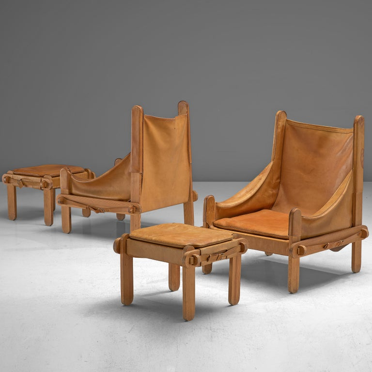 Pair of French Lounge Chairs in Cognac Leather For Sale 3