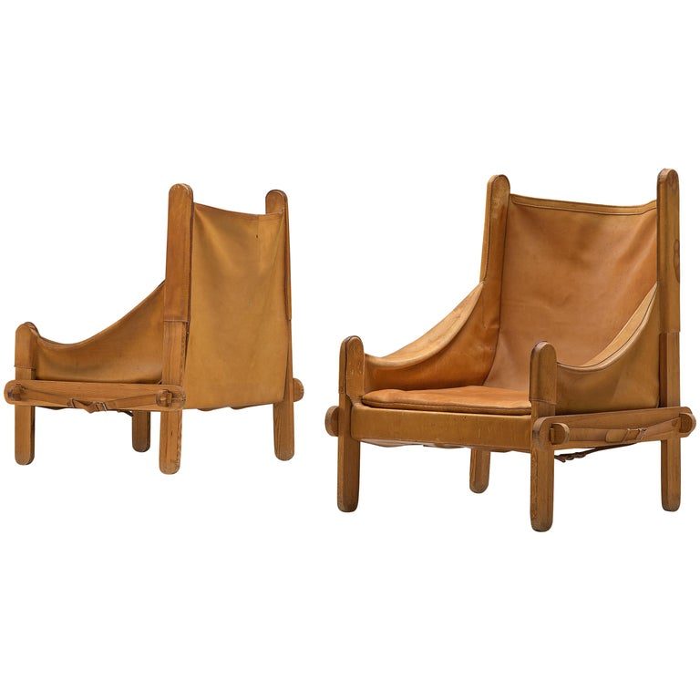 Pair of French Lounge Chairs in Cognac Leather For Sale