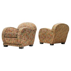 Pair of French Lounge Chairs in Floral Fabric