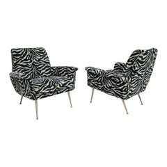 Pair of French Lounge Chairs in New Black/Gray Tiger Stripe Upholstery