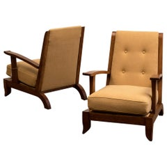 Pair of French Lounge Chairs in Oak and Belgian Linen, 1940s