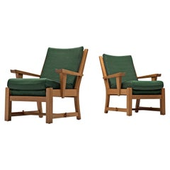 Pair of French Lounge Chairs in Oak and Green Upholstery