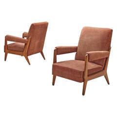 Pair of French Lounge Chairs in Soft Pink Cord Upholstery