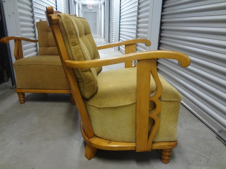 Art Deco Pair of André Arbus Style French Lounge Chairs For Sale
