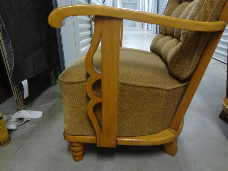 Pair of André Arbus Style French Lounge Chairs In Good Condition For Sale In Houston, TX