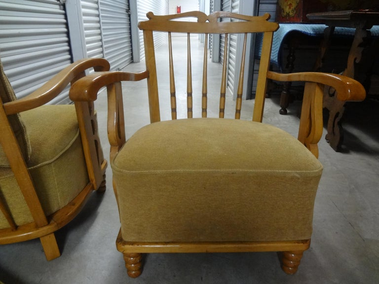 Mid-20th Century Pair of André Arbus Style French Lounge Chairs For Sale