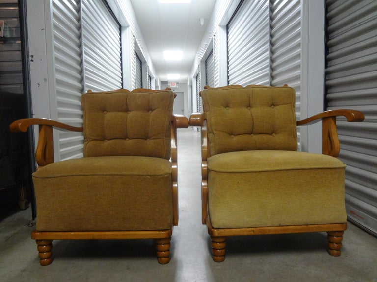 Pair of André Arbus Style French Lounge Chairs For Sale 3