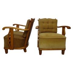 Pair of French Lounge Chairs in Sycamore, 1940s