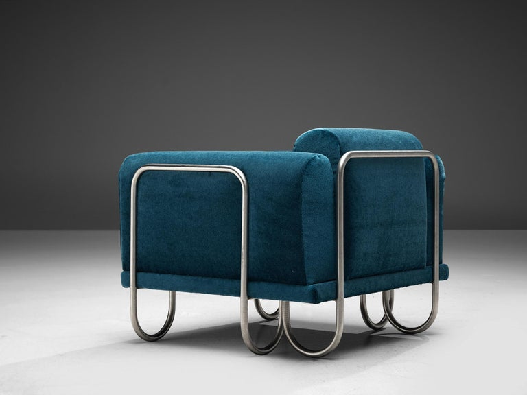 Mid-Century Modern Pair of French Lounge Chairs with Tubular Frames For Sale