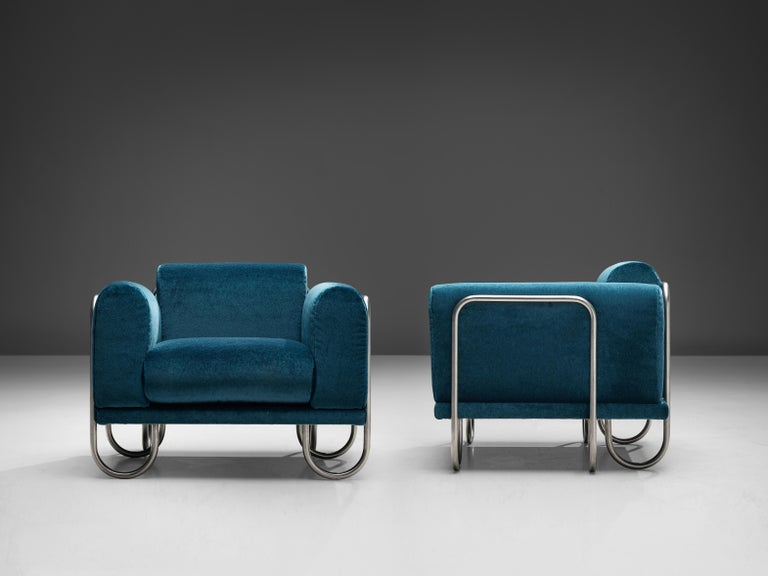 Pair of French Lounge Chairs with Tubular Frames In Good Condition For Sale In Waalwijk, NL