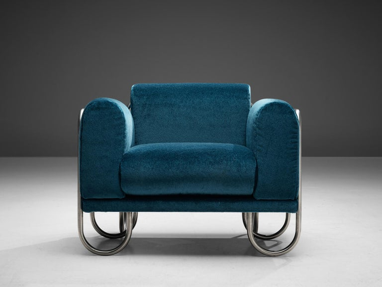 Late 20th Century Pair of French Lounge Chairs with Tubular Frames For Sale