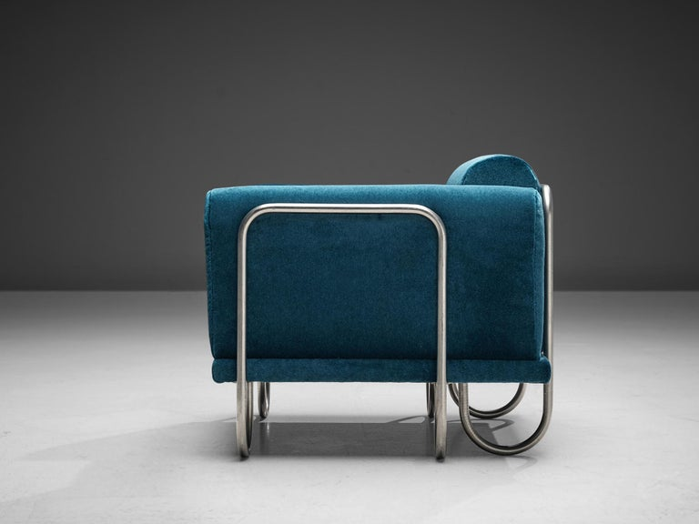 Fabric Pair of French Lounge Chairs with Tubular Frames For Sale