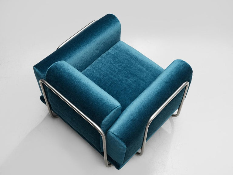 Pair of French Lounge Chairs with Tubular Frames For Sale 1