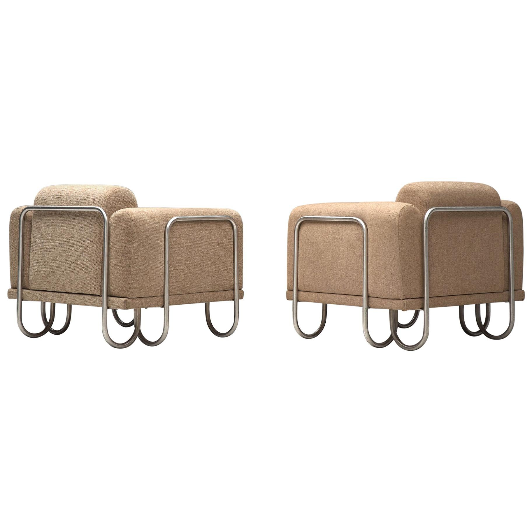 Pair of French Lounge Chairs with Tubular Frames