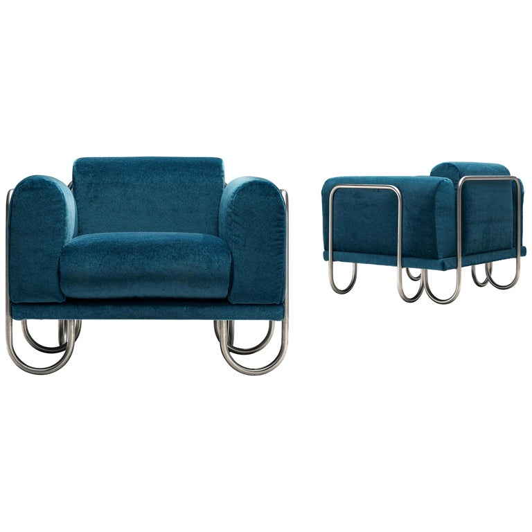 Pair of French Lounge Chairs with Tubular Frames For Sale