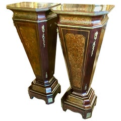 Pair of French Mahogany and Boulle Pedestals