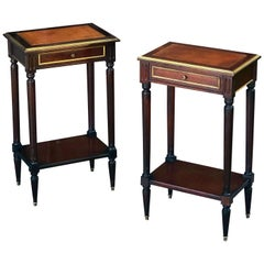 Pair of French Mahogany and Leather Side Tables or Nightstands 'Priced as Pair'