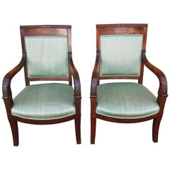 Pair of French Mahogany Charles X Upholstered Armchairs