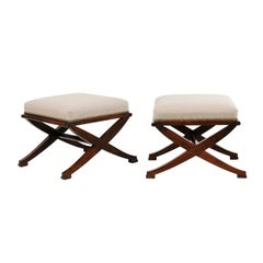 Pair of French Mahogany X-Form Stools, circa 1870 with Newly Upholstered Seats