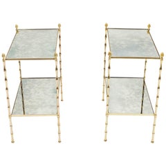 Pair of French Maison Baguès Bamboo Brass Mirrored Two-Tier End Tables, 1960s