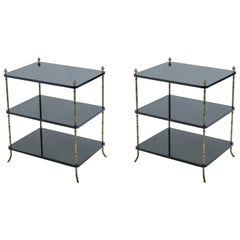 Pair of French Maison Baguès Brass Black Lacquer Three-Tier Side Tables, 1950s