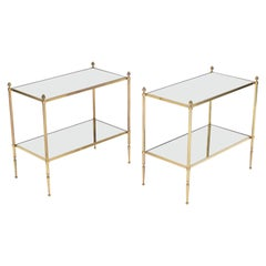 Pair of French Maison Bagues Brass Mirrored Two-Tier End Tables, 1950s