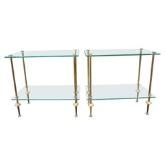 Pair of French Maison Baguès Style Brass and Glass Tables