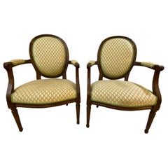 Pair of French Maison Jansen Bergeres or Armchairs in Walnut, Stamped JANSEN