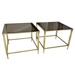 Pair of French Maison Jansen Brass Side or End Tables