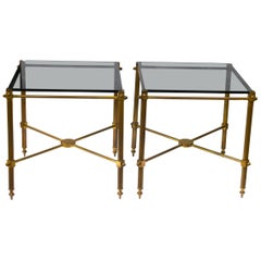 Pair of French Maison Jansen Brass Side Tables, France, 1960's
