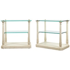 Pair of French Maison Jansen Glass Top Column Tables with Corinthian Capitals
