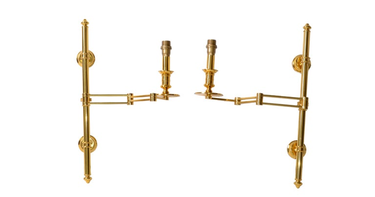 Pair of French Maison Jansen Retractable Wall Sconces, 3 pairs Available  4