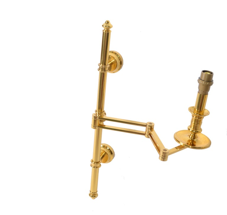 Brass Pair of French Maison Jansen Retractable Wall Sconces, 3 pairs Available