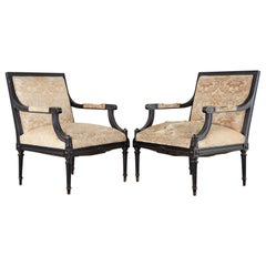 Pair of French Maison Jansen Style Fauteuil Armchairs