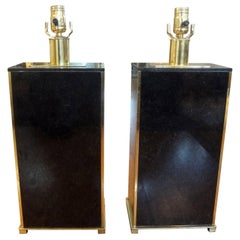 Pair of French Marble and Brass Lamps Attributed to Maison Charles