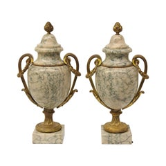 Pair of French Marble and Bronze Cassolettes