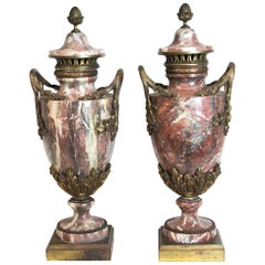 Pair of French Marble and Ormolu Cassolettes
