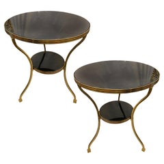 Pair of French Marble & Bronze Side Tables