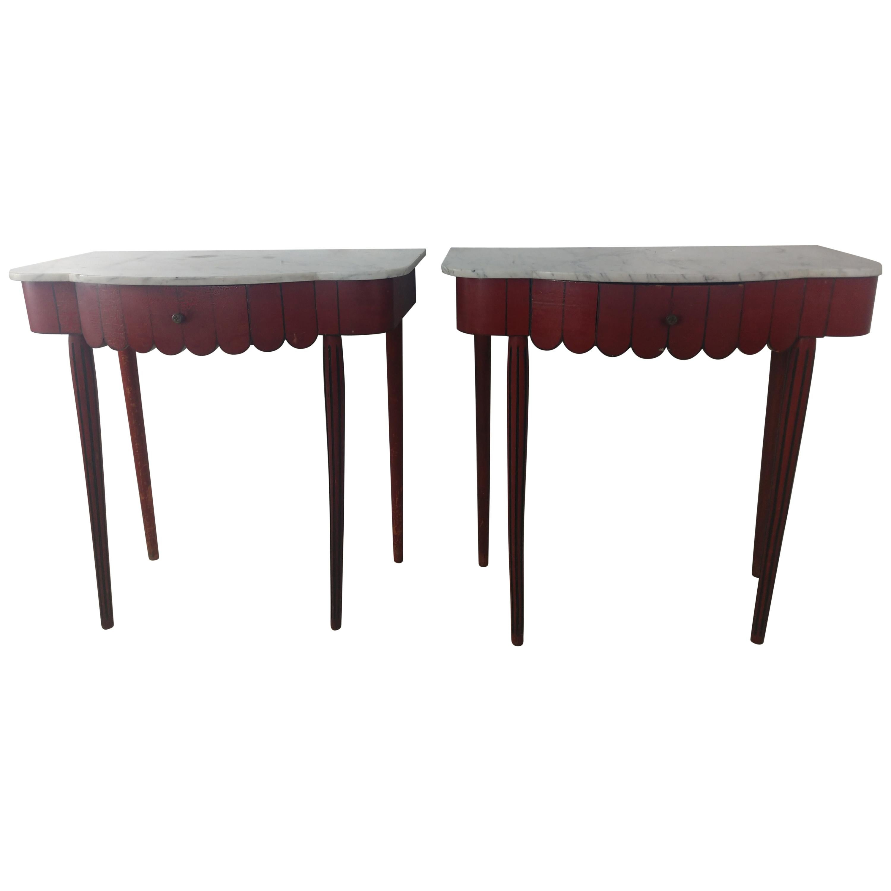 Pair of French Marble-Top Console Tables, C1940