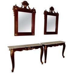 Pair of French Marble-Top Console Tables with Mirrors