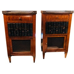 Pair of French Marble Top Library Themed Side Cabinets